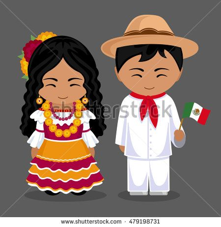 Mexicans in national dress with a flag. Man and woman in traditional costume.