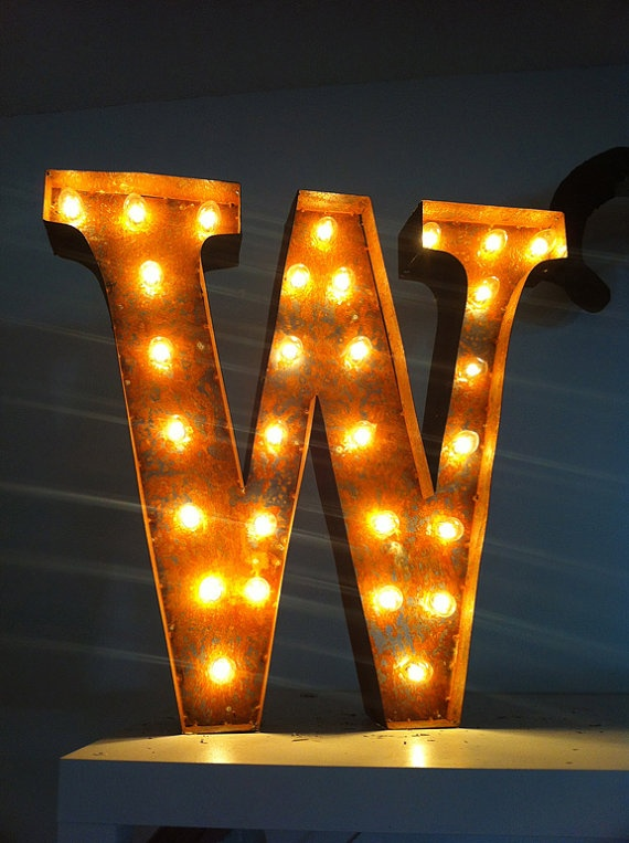 vintage marquee lights letter w by - Marquee Letter Lights