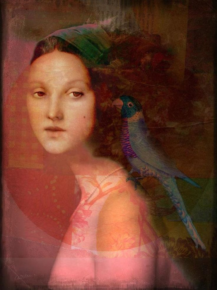 Donna con pappagallo nell'Arte ✿ - Catherine La Rose Poesia e Arte Girl with parrot by Catrin Welz-Stein