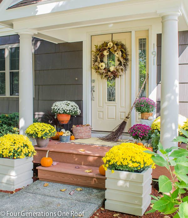 PORTICO REVEAL: Check out this gorgeous curb appeal makeover @Four Generations One Roof featuring fall decorating ideas and how to add curb appeal to your home.