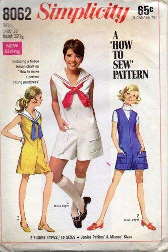 Simplicity 8062 60s Sailor Style Mini Jumpsuit Romper Pantdress ...