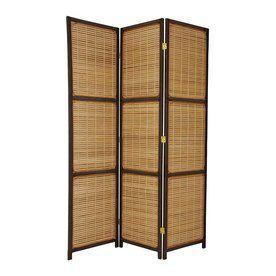 Oriental Furniture 3-Panel Dark Brown Wood Folding Indoor Privacy Scre