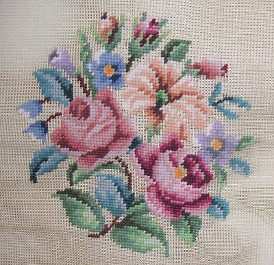 VTG-Floral-Preworked-Needlepoint-Tapestry-Canvas-23-x-23