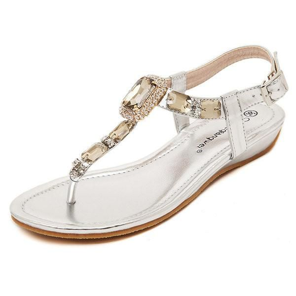 Beaded Crystal Clip Toe Buckle Flat Bohemia Sandals