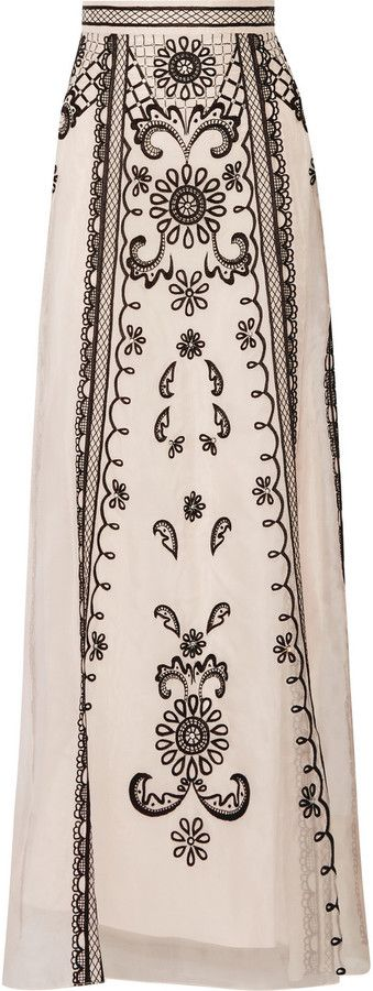 Temperley London Delphia embroidered silk-organza maxi skirt