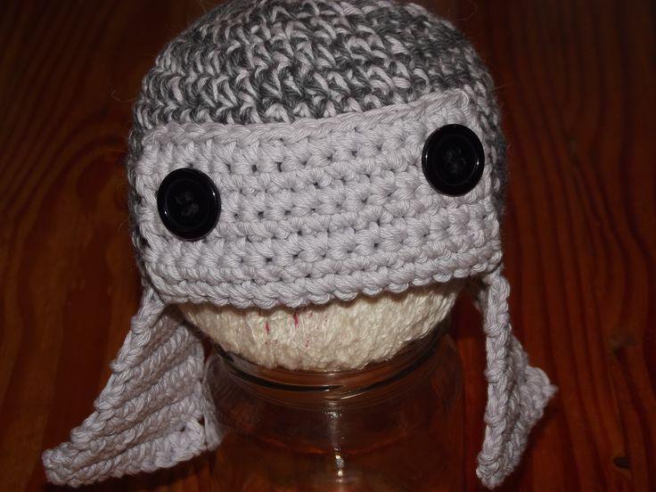 gorro recién nacido aviador, en lana a crochet