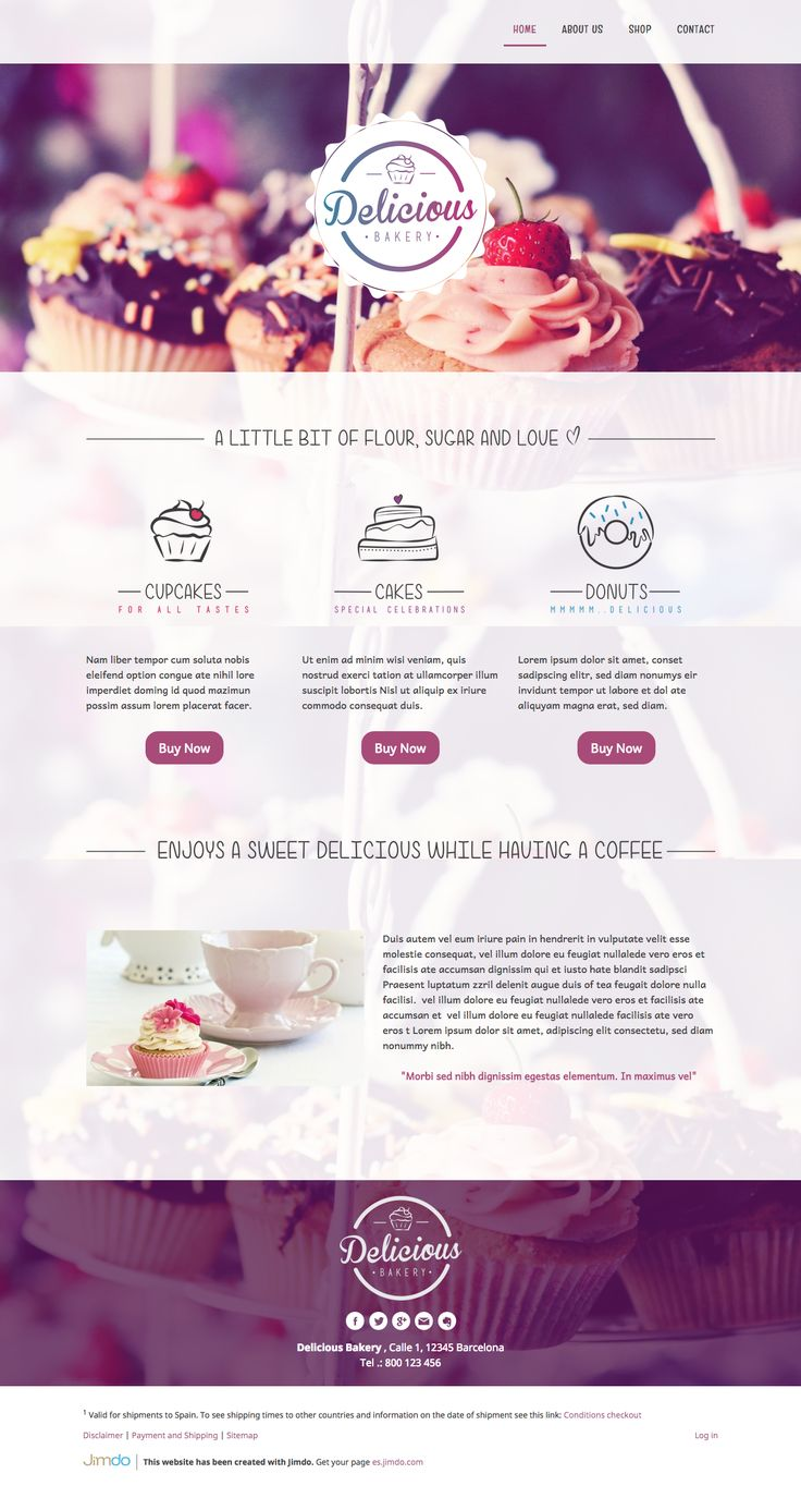 Logo and website design concept by designer BacteryKey. – Jimdo template: Miami – Visit the full site here: http://deliciousbakery.jimdo.com/
