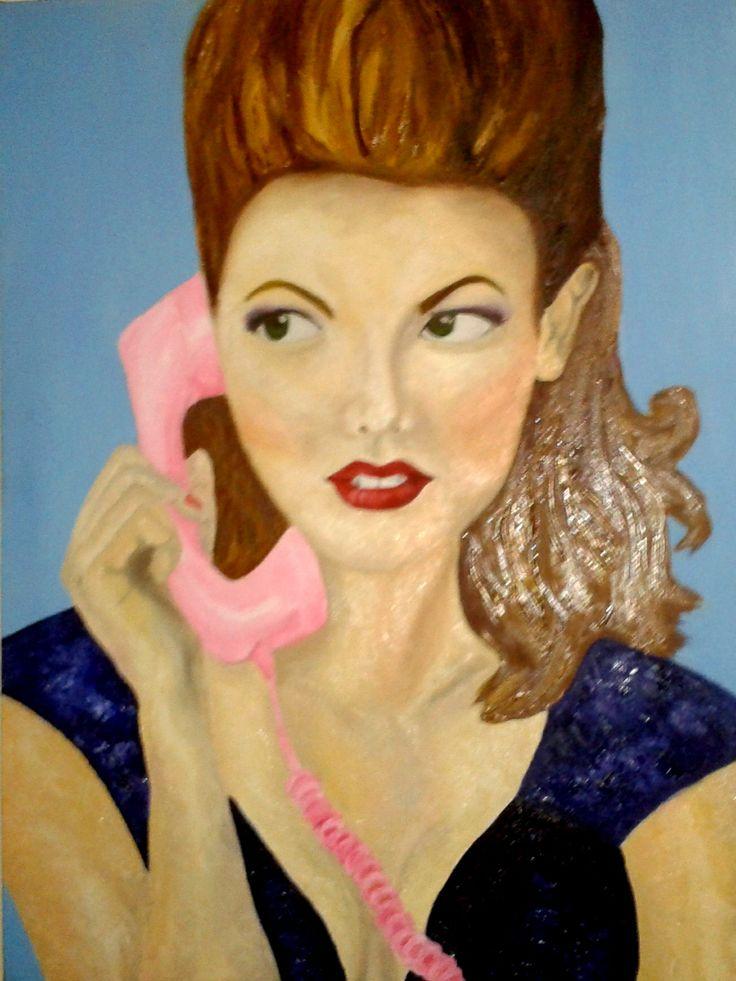 """La mujer del teléfono"" MM... técnica oleo espatulado"
