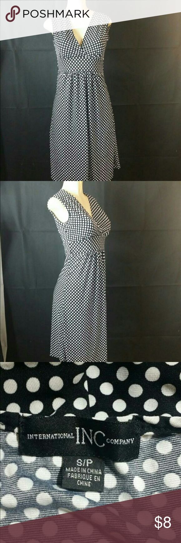 I. N.C International Concepany Polka-dots Dress I. N.C International Company  Women's Casual black polka-dots Dress, knee-length. Size S-petite, V-neck, sleeveless, comes as closeout/Return/salvage merchandise, without tag, looks like is been used before, overall is in good cosmetic condition clean, no stains are present, please check the pictures for actual cosmetic condition. I. N.C International Company  Dresses Midi
