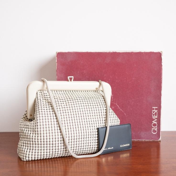 1970s 'Twinkle' beige metal mesh handbag by GLOMESH