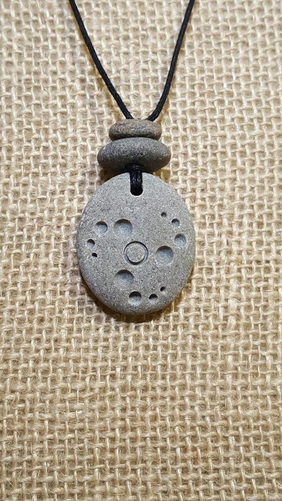 Carved Stone Necklace crop circle pendant natural by RockYouWear