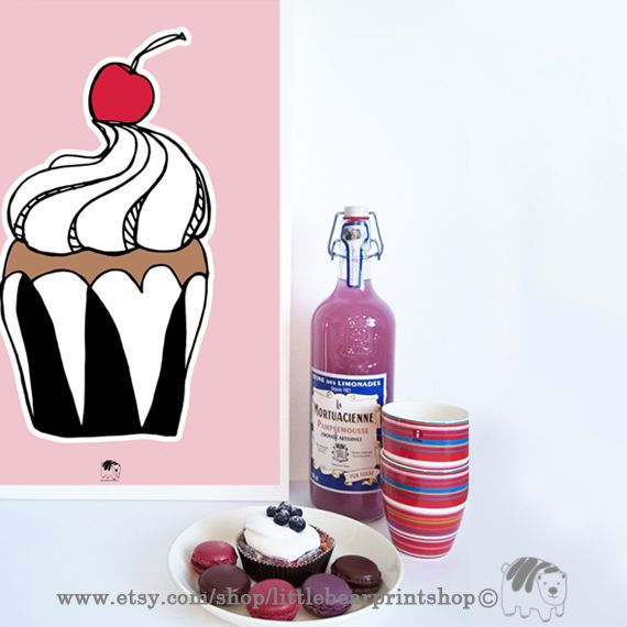 Pink Cup Cake Print. Size A2 Digital Download 8.68€. Printable artwork is a beautiful, quick and cost effective way of updating your art. Available on Etsy. ❤️❤️
