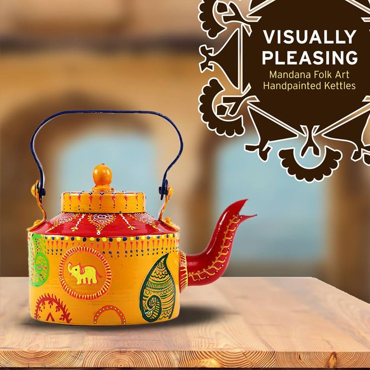 #RangRage brings you special #Mandana theme Hand Painted #Kettles for you to keep the #art alive in your houses as a point of attraction and as a good luck charm.