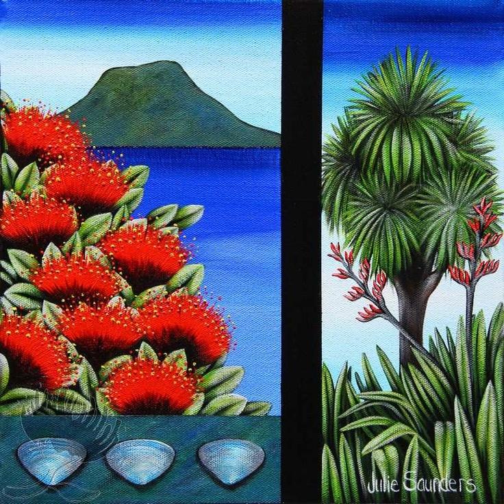 Julie Saunders Print – Mount Cabbage Pohutukawa