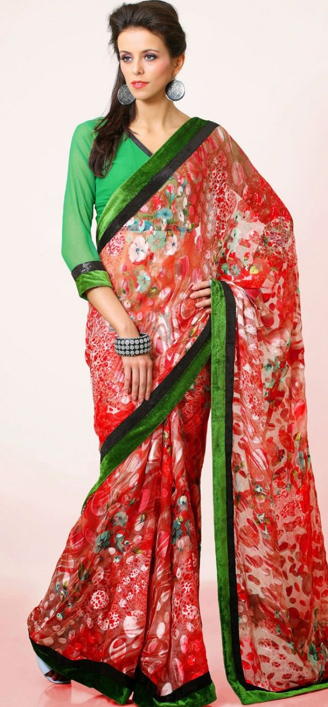 Striking red and green combo brasso saree: KSR2627
