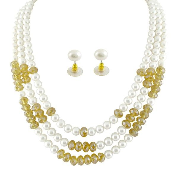 The Three String Crystal Pearl Set #pearls #crystals #wedding #jewellery #fashion