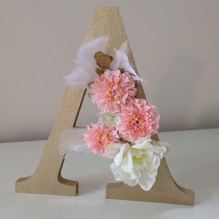 Gold Floral letter, nursery decoration, party decoration