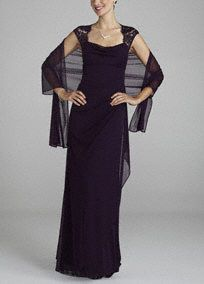 Elegant and ultra sophisticated, you will look like a knock out in this luxurious jersey dress!  Cap sleeve bodice and open backcreate aneye-catching and on trend look.  Lace detail adds an ultra-feminine touch to this already magnificent ensemble.  Long jersey skirt adds dimension and creates an elongated silhouette.  Comes with matching chiffon shawl.  Fully lined. Back zip. Imported polyester. Dry clean. Available in Plus sizes as Style XS2195W.