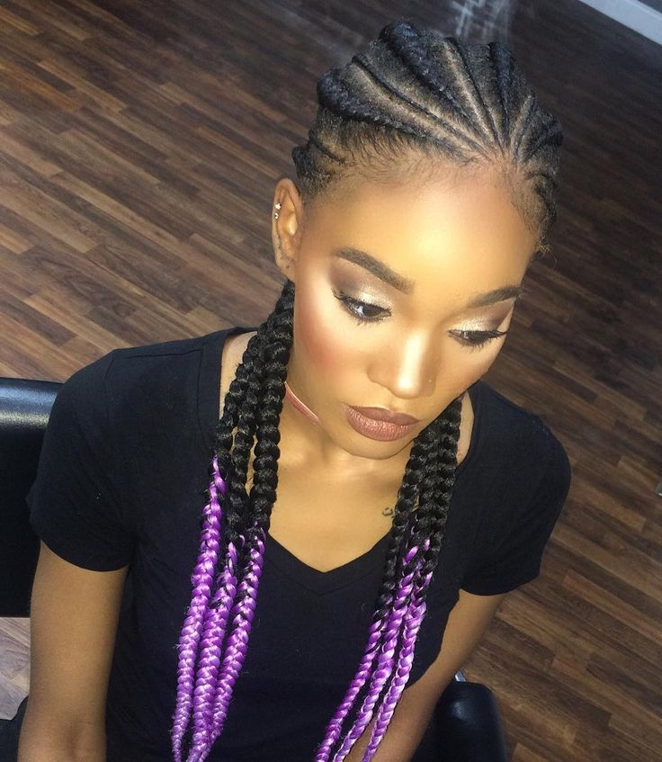 Skinny Braids with Purple Ends