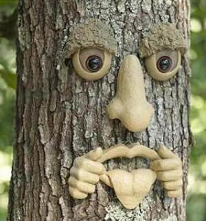 Forest Faces | forest faces are horrible little pieces you can tack into trees…