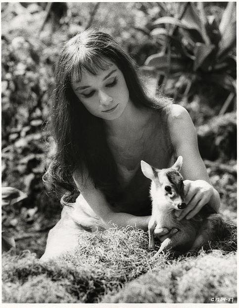 "Audrey Hepburn in Mel Ferrer's film, ""Green Mansions,"" 1959."