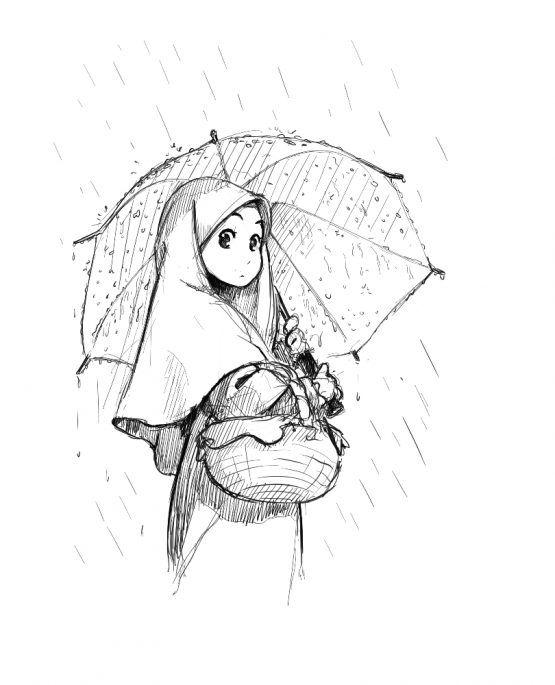 Manga Girl With Umbrella in the Rain