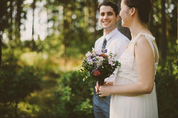 Lovely natural wedding bouquet made of wild flowers picked from a forest. http://johannahietanen.com/wedding/elopement-destination-wedding-photographer/