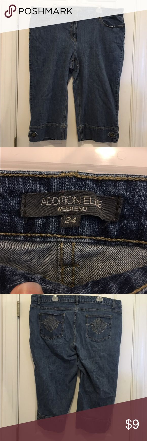 Plus size Addition Elle jean capris Addition Elle jean capris, dark wash denim, size 24, great condition and gently used. Addition Elle Pants Capris