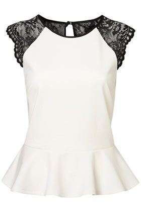 Topshop Lace Back Peplum Top - Ivory peplum with lace shoulder and lace back detailing with 3 buttons up the back.