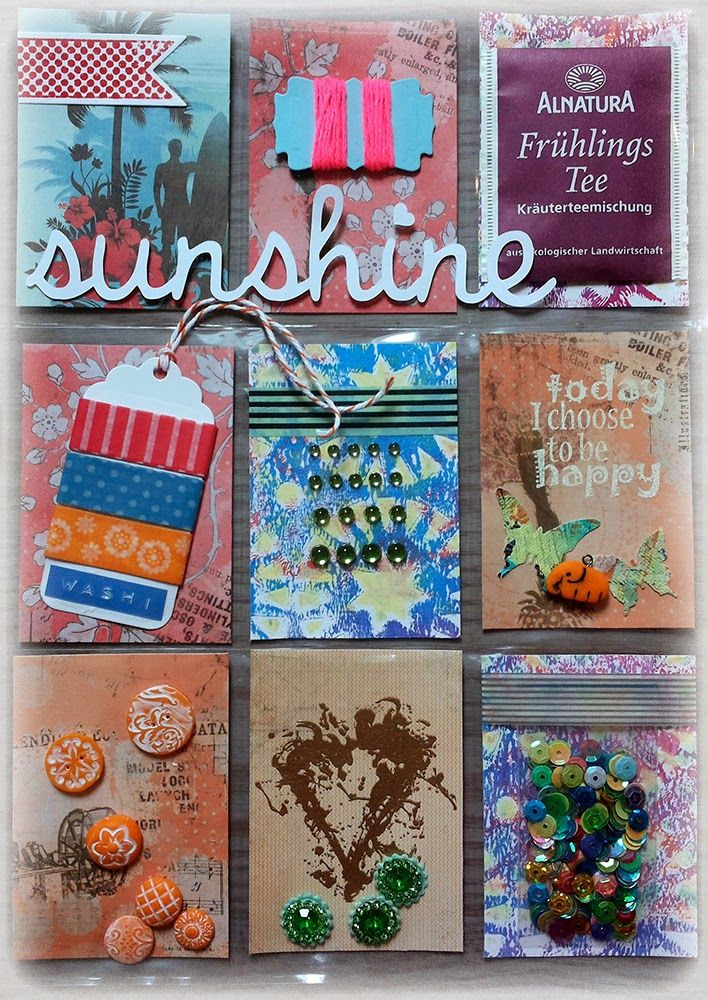 Sunshine Pocket Letter by Susanne Rose, using some stamps from Rubber Dance. Notice that tiny elephant she made out of clay? So cute!!