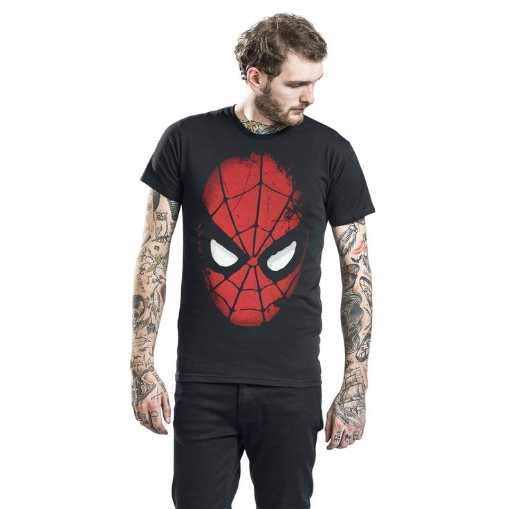"Classica T-Shirt uomo nera ""Big Face"" di #Spiderman."