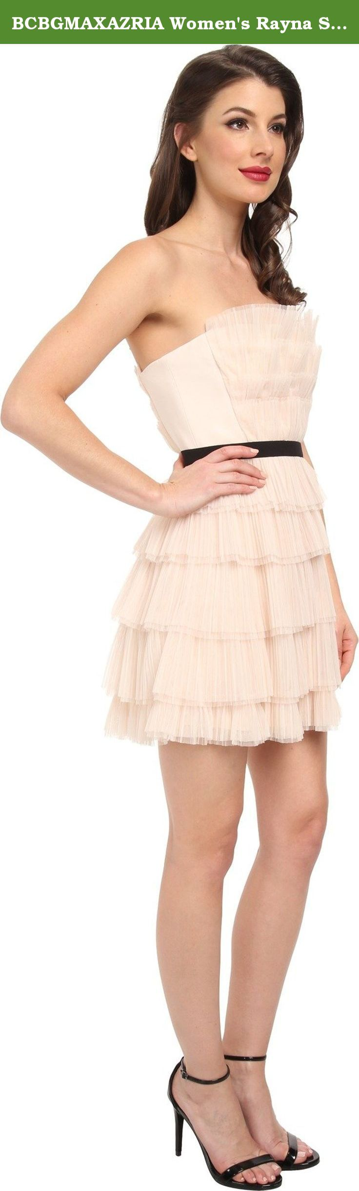 BCBGMAXAZRIA Women's Rayna Strapless Pleated Cocktail Dress, Vanilla, 8. Rich texture and dimension are created by the sophisticated pleating of this knockout dress.