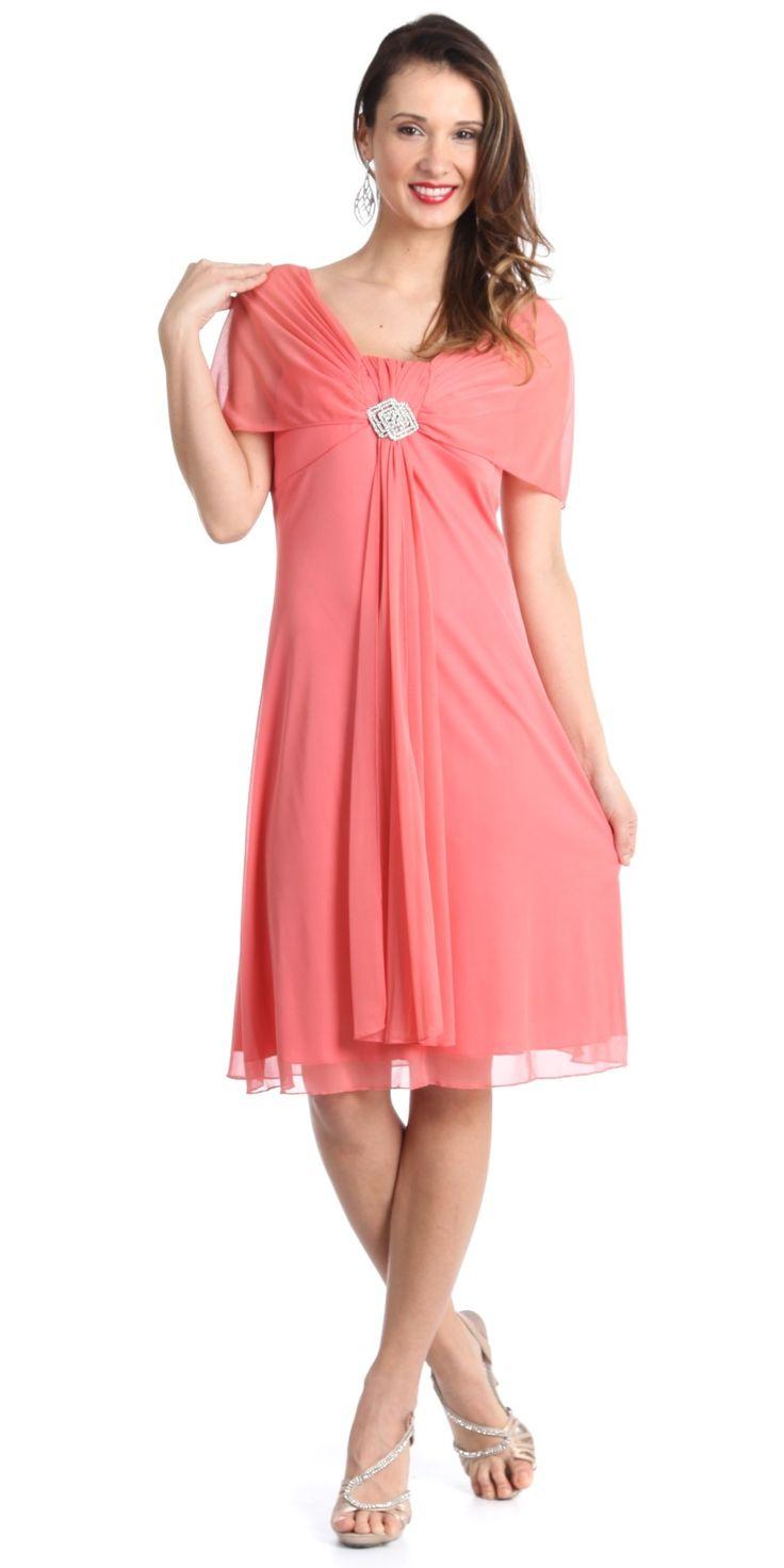 Short Chiffon Dress Coral Short Sleeve Chiffon Knee Length Brooch 89 99 Chiffon Dress Short