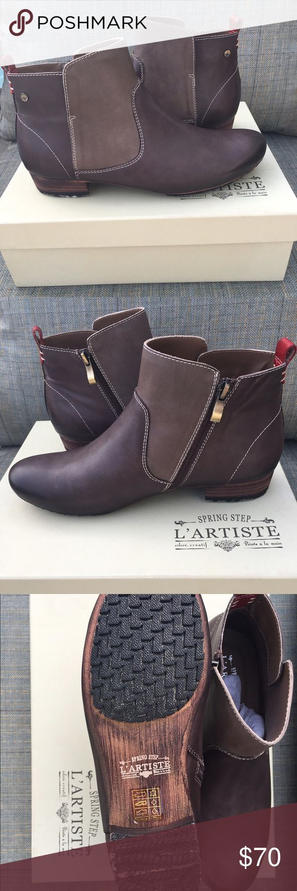 """L' Artise Aladyn The L'Artiste Aladyn is a stylish vintage multi-colored boot with full length inside zipper. Comfort padded insole with super soft lining. Insole: textile  Heel Height: 1"""" Origin: Imported Fit: True to Size  Outsole: Rubber Upper: Leather L'artise Shoes Ankle Boots & Booties"""