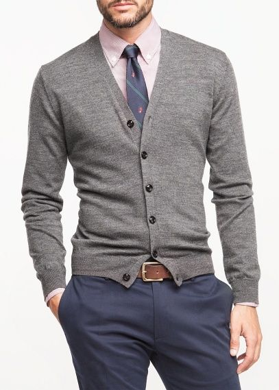 Dark Grey V Neck Wool Cardigan Look by H.E. Mango