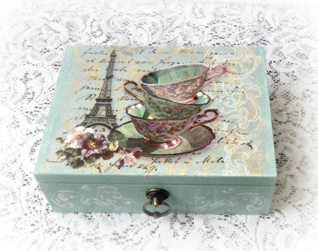 Caja de madera del té caja de joyería caja de por CarmenHandCrafts