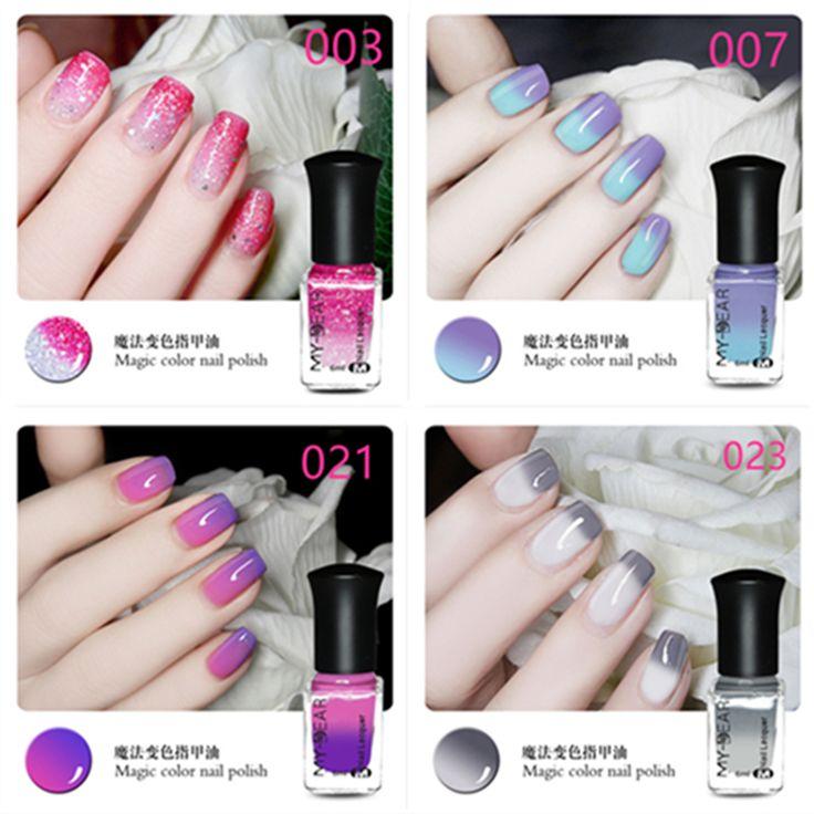2016 1 Stks 6 ml Beschikbaar Thermische Nagellak Peel Off Polish met Paillette Temperatuur Kleur Veranderende Nagellak 19 kleuren