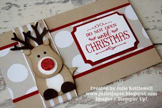 Reindeer Gift Voucher Wallet by Julie Kettlewell Independent Stampin Up Demonstrator. #giftcardholder #giftcardwallet #stampinup Reindeer Gift Voucher Wallet