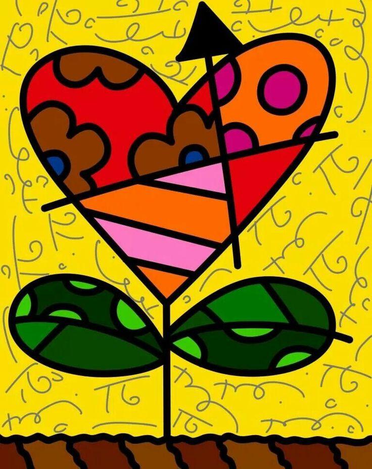corazón flor - romero britto