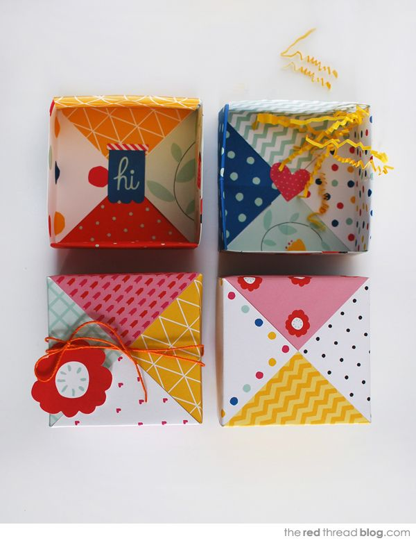 the red thread :: create, inspire, share | MAKE :: Patchwork paper origami gift boxes | http://www.theredthreadblog.com
