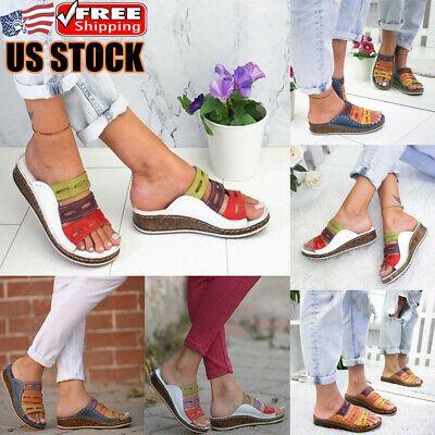 (eBay Advertisement) Women Slipper Slides Wedge Flip Flops Flat Espadrilles Summ…