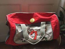 Beijing Summer Olympics FUWA Mascots Red Gray Duffle GYM Bag 2008 Vintage Rare