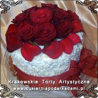 057. Tort z prawdziwymi różami. Cake with real roses.