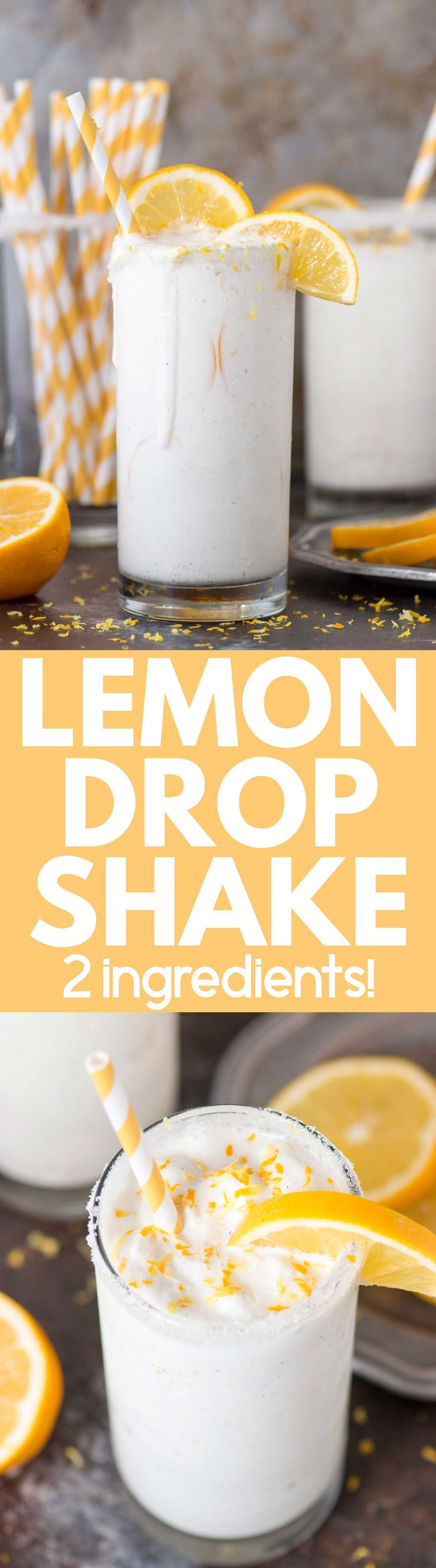 2 ingredient LEMON DROP SHAKE! Vanilla ice cream and lemonade in a blender - a smooth, creamy drink you'll want all spring and summer!
