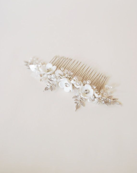 Bridal hair comb, headpiece jewelry, wedding hair brooch, rhinestone comb, bride hair jewelry, white clay flower blossom - Lise