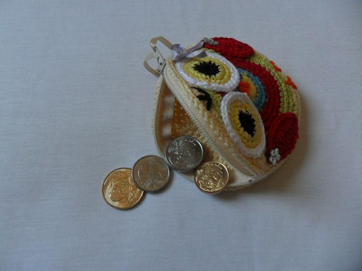 porta moedas corujinha em crochê 2
