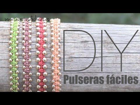 ▶ DIY: Pulseras con nudos planos y bolas - YouTube