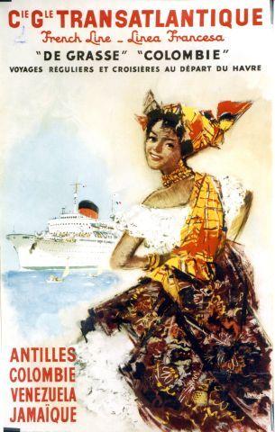 Brenet - Cie Gle Transatlantique French Line Antilles - 1953 vintage poster