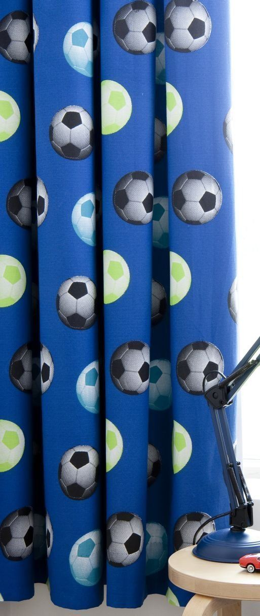 """World Cup Bedding - It's A Goal Football CurtainsEasycare coordinating curtains with a striking football print.Matching bedding available.66"""" x 72"""" (168cm x 183cm) Pencil Pleat curtains.48% Cotton / 52% Polyester."""