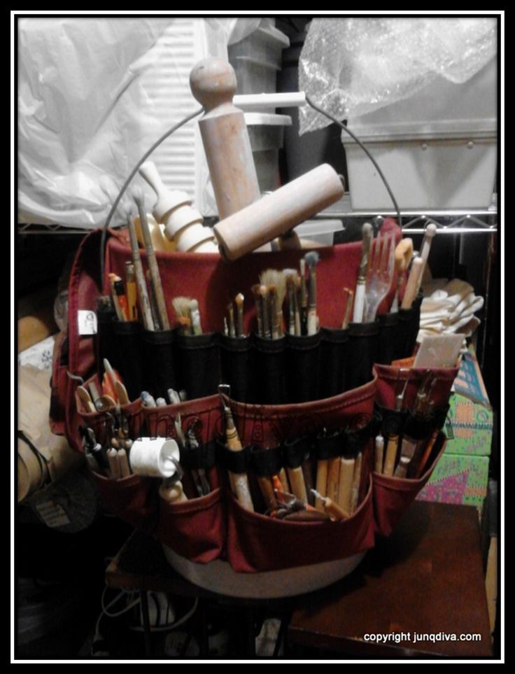 My pottery tool bucket--an assortment of storebought, re-purposed and handmade tools! junqdiva.com Blog